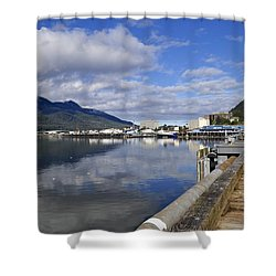 Port Of Juneau Shower Curtain by Cathy Mahnke