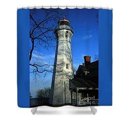 Port Sanilac Lighthouse Shower Curtain by Kathy DesJardins