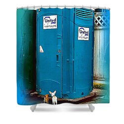 Shower Curtain featuring the photograph Porta Puppy Potty... by Sadie Reneau