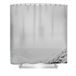 Portage Lake In Fog Shower Curtain