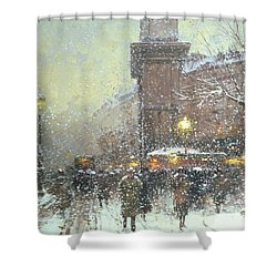 Porte St Martin In Paris Shower Curtain by Eugene Galien Laloue