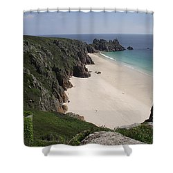 Porthcurno Cove Shower Curtain