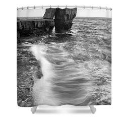 Portland Bill Seascape Shower Curtain by Ian Middleton