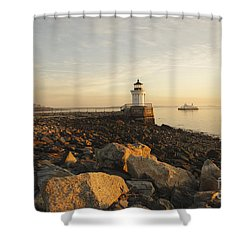 Portland Breakwater Light - Portland Maine Shower Curtain by Erin Paul Donovan