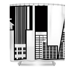 Portland City Skyline Text Outline Illustration Shower Curtain