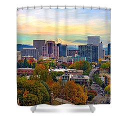 Portland Downtown Cityscape In The Fall Shower Curtain