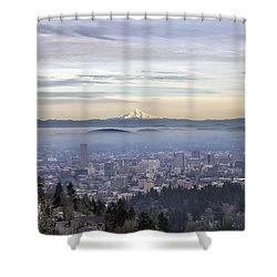 Portland Downtown Foggy Cityscape Shower Curtain by Jit Lim