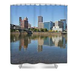 Shower Curtain featuring the photograph Portland Downtown Skyline And Hawthorne Bridge by JPLDesigns