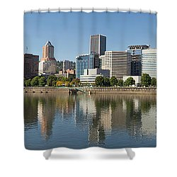 Shower Curtain featuring the photograph Portland Downtown Waterfront Skyline Panorama by JPLDesigns