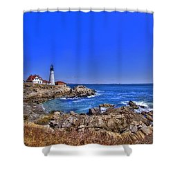 Portland Head Light 4 Shower Curtain by Joann Vitali
