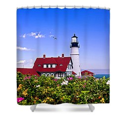 Portland Head Light And Roses Shower Curtain by Mitchell R Grosky