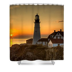 Portland Head Light At Sunrise II Shower Curtain