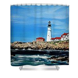 Portland Head Lighthouse Shower Curtain by Bill Dunkley