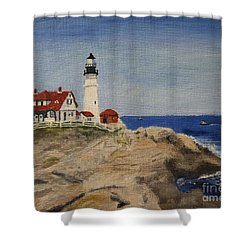 Portland Head Lighthouse In Maine Shower Curtain