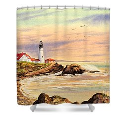 Shower Curtain featuring the painting Portland Head Lighthouse Maine by Bill Holkham