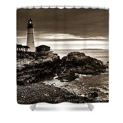 Shower Curtain featuring the photograph Portland Head Lighthouse Sunrise by Alana Ranney
