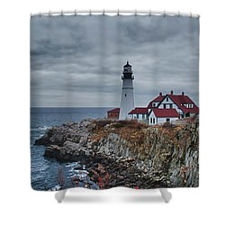 Shower Curtain featuring the photograph Portland Headlight 14440 by Guy Whiteley