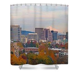 Portland Oregon City Skyline And Mount Hood Shower Curtain