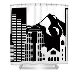 Portland Oregon Skyline Black And White Illustration Shower Curtain by Jit Lim