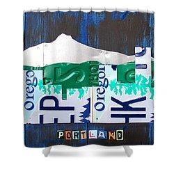 Portland Oregon Skyline License Plate Art Shower Curtain by Design Turnpike