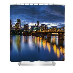 Portland Oregon Waterfront At Blue Hour Shower Curtain by David Gn