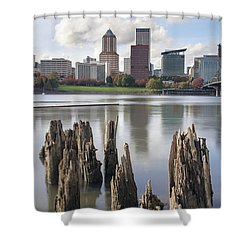 Portland Oregon Waterfront Shower Curtain by Jit Lim