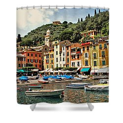 Shower Curtain featuring the photograph Portofino Harbor 2 by Allen Beatty