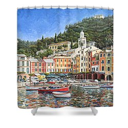 Portofino Italy Shower Curtain by Mike Rabe
