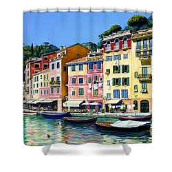Shower Curtain featuring the painting Portofino Sunshine Sold by Michael Swanson