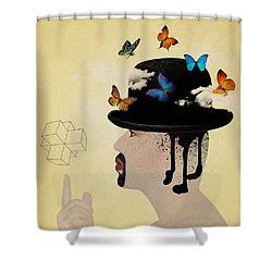 Portrait Hat Shower Curtain by Mark Ashkenazi