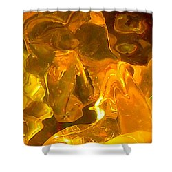 Portrait Of A Sleeping Horse In Gold Shower Curtain by James Welch