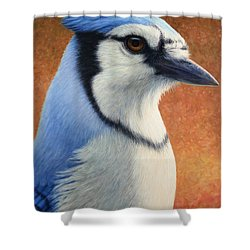 Portrait Of A Bluejay Shower Curtain by James W Johnson