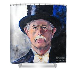 Shower Curtain featuring the painting Portrait Of A Man In Top Hat by Greta Corens