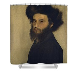 Portrait Of A Young Jewish Man  Shower Curtain by Isidor Kaufmann