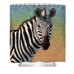 Shower Curtain featuring the painting Portrait Of A Zebra - Square by James W Johnson