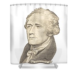 Portrait Of Alexander Hamilton On White Background Shower Curtain by Keith Webber Jr