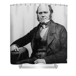 Portrait Of Charles Darwin Shower Curtain by English Photographer