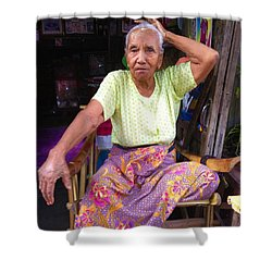 Shower Curtain featuring the photograph Portrait Of Elderly Burmese Lady Sitting In Front Of Home 33rd Street Chanayethazan Mandalay Burma by Ralph A  Ledergerber-Photography