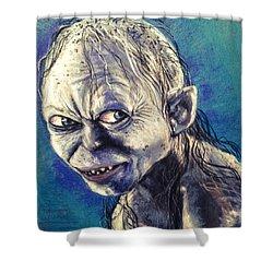 Portrait Of Gollum Shower Curtain by Alban Dizdari