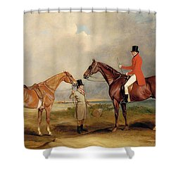 Portrait Of John Drummond On A Hunter With A Groom Holding His Second Horse Shower Curtain by John E Ferneley