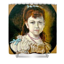 Shower Curtain featuring the painting Portrait Of Little Girl by Henryk Gorecki