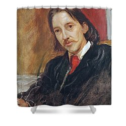 Portrait Of Robert Louis Stevenson Shower Curtain by Sir William Blake Richomond
