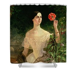 Portrait Of Sofia Andreyevna Shuvalova Shower Curtain by Karl Pavlovich Bryullov