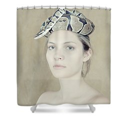 Portrait With The Snake Shower Curtain by Zina Zinchik