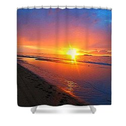 Portrush Sunset Shower Curtain by Tara Potts