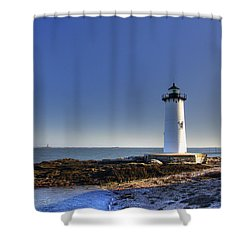 Portsmouth And The Whaleback Shower Curtain by Joann Vitali