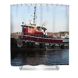 Portsmouth Harbor Tug Boat Winter Shower Curtain