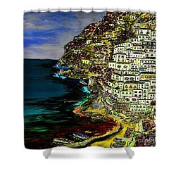 Positano At Night Shower Curtain