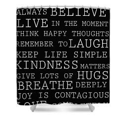 Positive Words Shower Curtain by P S