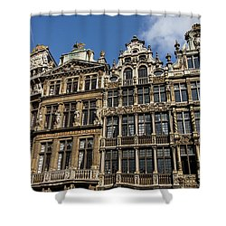 Shower Curtain featuring the photograph Postcard From Brussels - Grand Place Elegant Facades by Georgia Mizuleva